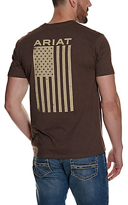 Ariat Men's Freedom Heather Brown with American Flag Graphic Short Sleeve Tee - Cavender's Exclusive