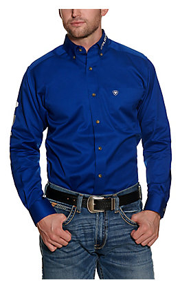 Ariat Men's Blue Logo Fitted Long Sleeve Western Shirt