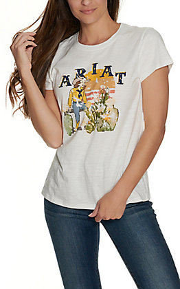 Ariat Women's White Take It Easy Graphic Short Sleeve T-Shirt - Cavender's Exclusive