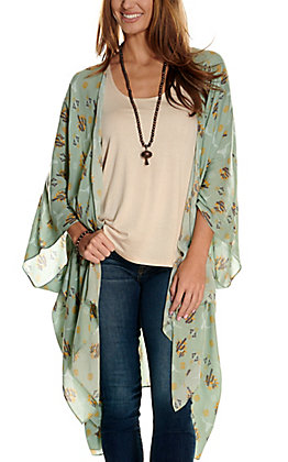 Ariat Women's Rain Green Sun Kissed Aztec Skull Print Kimono - Cavender's Exclusive