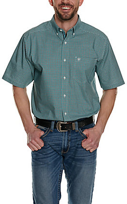 Ariat Men's Fergus Teal, Black & White Plaid Stretch Short Sleeve Western Shirt - Cavender's Exclusive