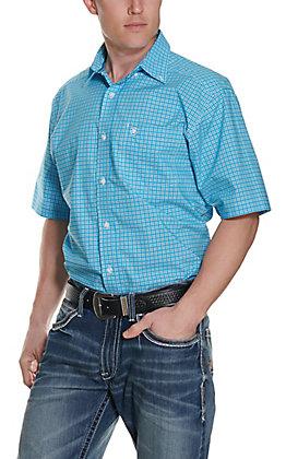 Ariat Men's Dorian Blue Plaid Stretch Short Sleeve Western Shirt - Cavender's Exclusive