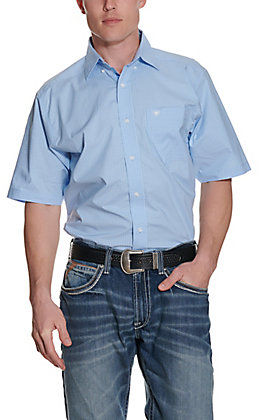 Ariat Men's Denero Light Blue & White Plaid Stretch Short Sleeve Western Shirt - Cavender's Exclusive