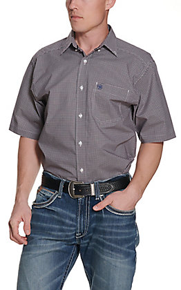 Ariat Men's Kendrick Navy & Red Plaid Stretch Short Sleeve Western Shirt - Cavender's Exclusive