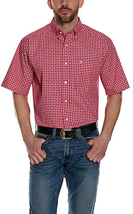Ariat Men's Egon Strawberry Red with White & Black Medallion Print Stretch Short Sleeve Western Shirt - Cavender's Exclusive