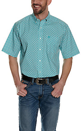 Ariat Men's Phoenix Turquoise and White Aztec Print Stretch Short Sleeve Western Shirt - Cavender's Exclusive