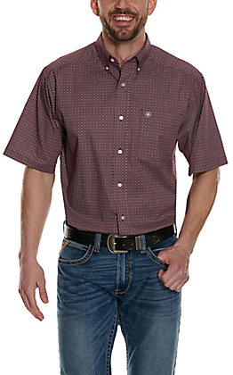 Ariat Men's Gatewood Burgundy with White Diamond Print Stretch Short Sleeve Western Shirt - Cavender's Exclusive - Big & Tall
