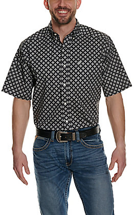 Ariat Men's Nel Black with White Cross Print Stretch Short Sleeve Western Shirt - Cavender's Exclusive