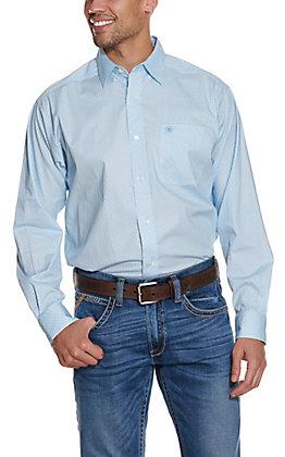 Ariat Men's Mitch Light Blue Geo Print Stretch Long Sleeve Western Shirt - Cavender's Exclusive