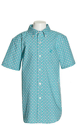 Ariat Boys' Phoenix White with Turquoise Aztec Print Short Stretch Sleeve Western Shirt - Cavender's Exclusive