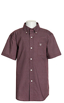 Ariat Boys' Gatewood Burgundy with White Diamond Print Short Stretch Sleeve Western Shirt - Cavender's Exclusive