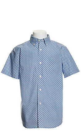 Ariat Boys' Burton Blue and White Print Short Stretch Sleeve Western Shirt - Cavender's Exclusive