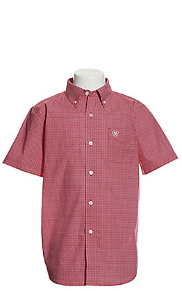 Ariat Boys' Mitch Red Floral Print Short Stretch Sleeve Western Shirt - Cavender's Exclusive