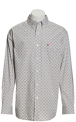 Ariat Men's Midwood White with Grey and Coral Medallion Print Stretch Long Sleeve Western Shirt - Cavender's Exclusive