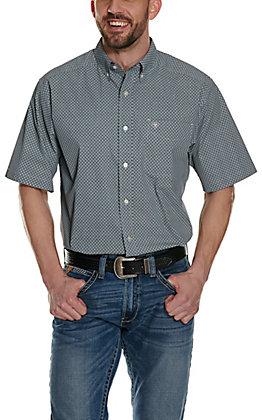 Ariat Men's Zellar Black with White & Teal Diamond Print Stretch Short Sleeve Western Shirt - Cavender's Exclusive