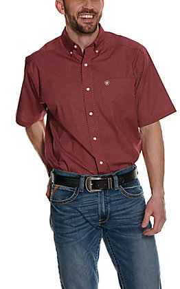 Ariat Men's Zilverton Red with Black and White Geo Print Stretch Short Sleeve Western Shirt - Cavender's Exclusive - Big & Tall