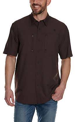 Ariat Men's Pro VentTek Solid Chocolate Brown Short Sleeve Shirt