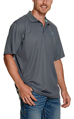 Ariat Men's TEK Weathered Slate Grey Heat Series Polo Shirt - Cavender's Exclusive