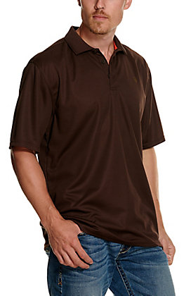 Ariat Men's TEK Chocolate Brown Heat Series Polo Shirt - Cavender's Exclusive
