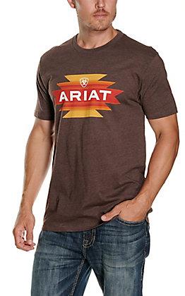 Ariat Men's Native Angles Brown Aztec Logo Short Sleeve T-Shirt