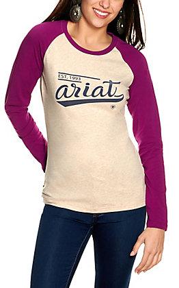 Ariat Women's Oatmeal with Varsity Logo Long Violet Baseball Sleeves Tee