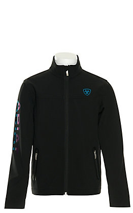 Ariat Girls' Team Black and Serape Logo Softshell Jacket - Cavender's Exclusive