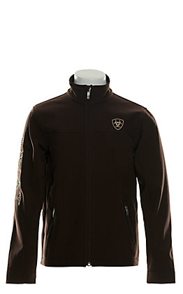 Ariat Girls' New Team Coffee Bean Brown with Leopard Logo Softshell Jacket - Cavender's Exclusive