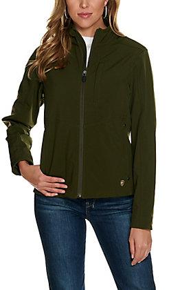 Ariat Women's REAL Brine Olive Aztec Logo Softshell Jacket - Cavender's Exclusive