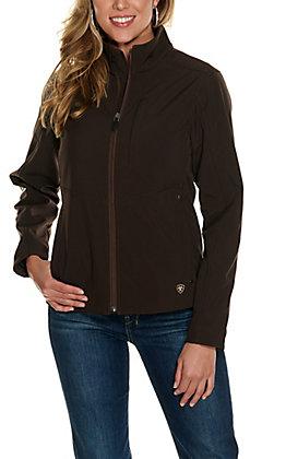 Ariat Women's REAL Coffee Bean Brown Aztec Logo Softshell Jacket - Plus Sizes