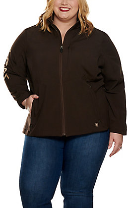 Ariat Women's REAL Coffee Bean Brown Aztec Logo Softshell Jacket - Cavender's Exclusive