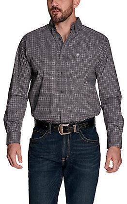 Ariat Men's Bainton Grey with Black Cross Print Stretch Long Sleeve Western Shirt