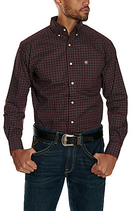 Ariat Men's Bainton Burgundy with Black Cross Print Stretch Long Sleeve Western Shirt - Cavender's Exclusive