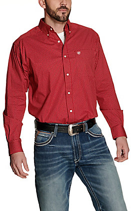 Ariat Men's Riverton Red with White Diamond Print Long Sleeve Stretch Western Shirt - Cavender's Exclusive