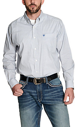 Ariat Men's Silverado White with Blue Print Long Sleeve Stretch Western Shirt - Cavender's Exclusive