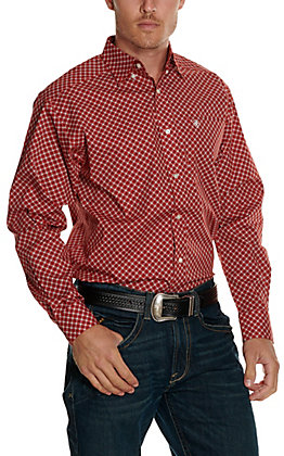Ariat Men's Fallston Red with Black and White Medallion Print Stretch Long Sleeve Big & Tall Western Shirt - Cavender's Exclusive