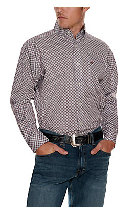 Ariat Men's Fallston White with Burgundy and Grey Check Print Stretch Long Sleeve Western Shirt