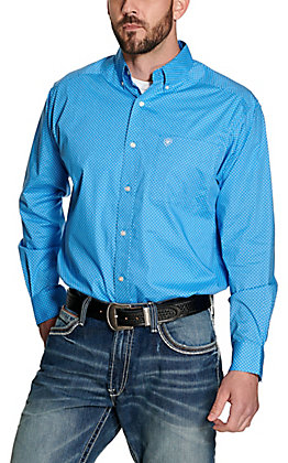 Ariat Men's Jonah Blue with White and Light Blue Geo Print Long Sleeve Stretch Western Shirt - Big & Tall