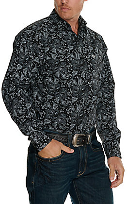 Ariat Men's Olex Black with Grey Paisley Print Stretch Long Sleeve Western Shirt - Cavender's Exclusive