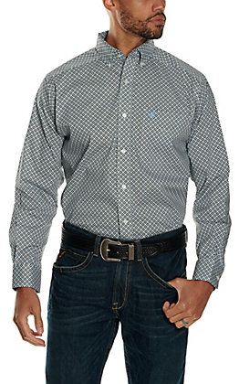 Ariat Men's Pellston White with Blue and Black Medallion Print Stretch Long Sleeve Western Shirt - Cavender's Exclusive