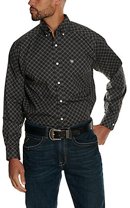 Ariat Men's Fanton Grey with Black and White Medallion Print Stretch Long Sleeve Western Shirt - Cavender's Exclusive