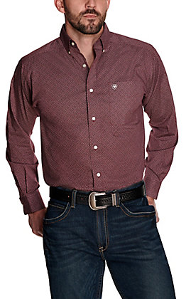 Ariat Men's Fanton Burgundy with White Print Stretch Long Sleeve Western Shirt - Big & Tall