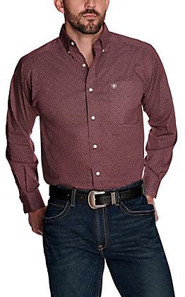 Ariat Men's Fanton Burgundy with White Print Stretch Long Sleeve Western Shirt