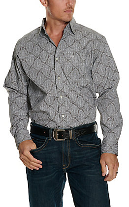 Ariat Men's Springfield Grey with White Paisley Print Stretch Long Sleeve Western Shirt - Cavender's Exclusive