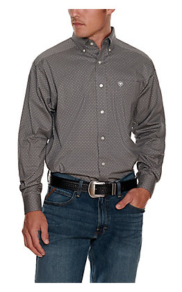 Ariat Men's Urway Anchor Grey with Black Diamond Print Stretch Long Sleeve Western Shirt