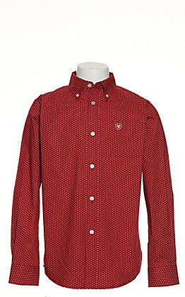 Ariat Boys' Riverton Red with White Diamond Print Long Sleeve Stretch Western Shirt - Cavender's Exclusive
