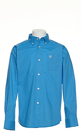 Ariat Boys' Fallston White with Turquoise Medallion Print Long Sleeve Stretch Western Shirt - Cavender's Exclusive