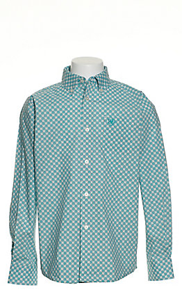 Ariat Boys' Jonah Blue with White and Light Blue Geo Print Long Sleeve Stretch Western Shirt - Cavender's Exclusive