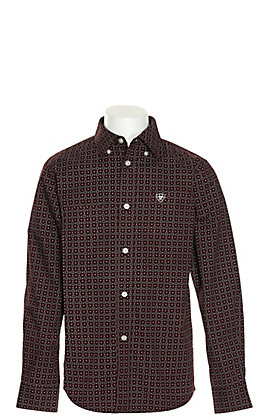 Ariat Boys' Fanton Grey with Black and White Medallion Print Stretch Long Sleeve Western Shirt - Cavender's Exclusive