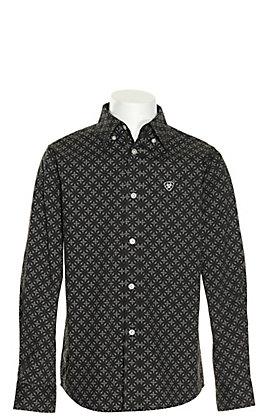 Ariat Boys' Bainton Burgundy with Black Cross Print Stretch Long Sleeve Western Shirt - Cavender's Exclusive