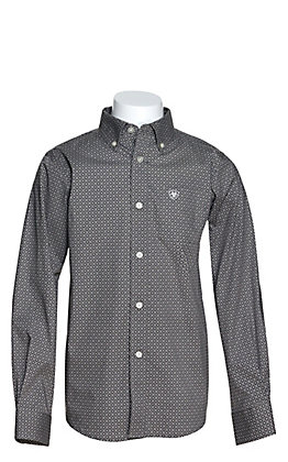 Ariat Boys' Urway Anchor Grey with Black Diamond Print Long Sleeve Western Shirt - Cavender's Exclusive